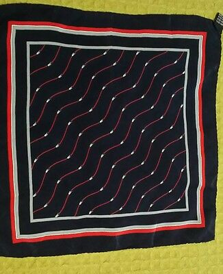 Vintage Red White & Blue Print Silk Pocket Square 12X12  Italy