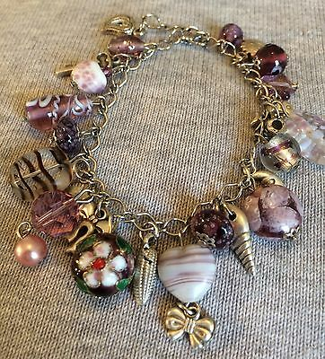 Vintage or Style Glass Beads & Silver Tone Metal Charm Style Bracelet
