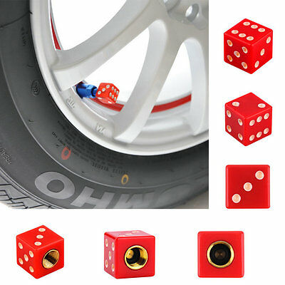 Universal Dice Car Truck Bike Wheel Airtight Tyre Tire Stem Air Valve Cap Red BA