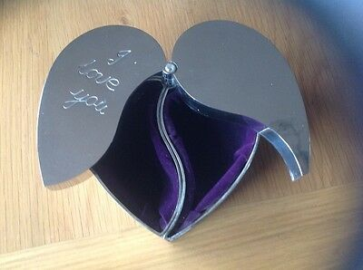 Really Unusual 'Double' HEART SHAPED 'I Love You' SILVER PLATED JEWELLERY BOX