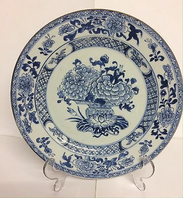 Chinese 18th Cent Floral Blue And White Plate 23 Cm Excellent Condition