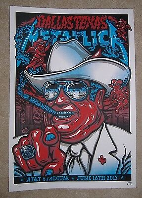 "Arlington (Dallas) Metallica 2017 Tour Poster At&t Stadium 24""x17"" Texas"