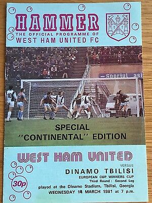 West Ham United vs Dinamo Tbilisi. 18/03/1981. Cup winners Cup.