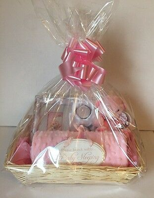 Baby Girl Gift Hamper Basket Plush Bear Photo Frame First Curl & Tooth Gift Set