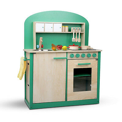 Kids Wooden Kitchen Pretend Play Set Toy Children Cooking Home Cookware Green