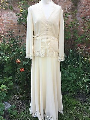 True Vintage Frank Usher Sheer Lace Victorian Long Skirt Wedding Romantic M 12