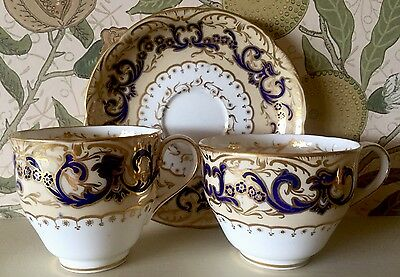 Early English Trio Cup Plate Saucer Cobalt And  Gold C.1850