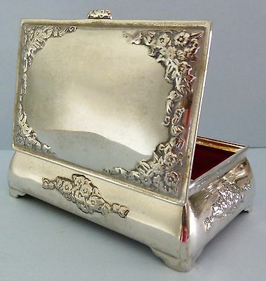Antique Silver Plate Trinket Jewellery Box Neo Classical Flower Embossed Rare
