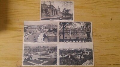 5 vintage french paris postcards