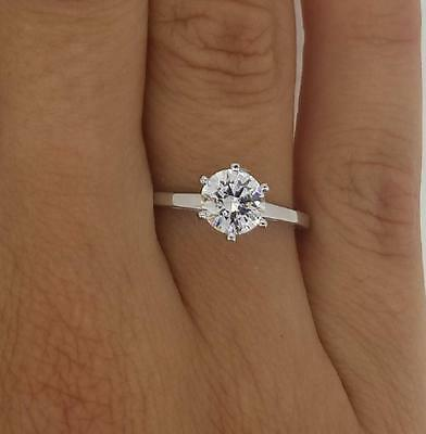 1 ct VS1 Round Cut Diamond Solitaire Engagement Ring White Gold 14k 262632