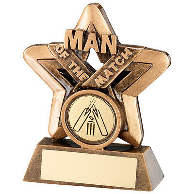 Cricket Man Of The Match Mini Star Trophy Bronze / Gold  3.75in FREE Engraving