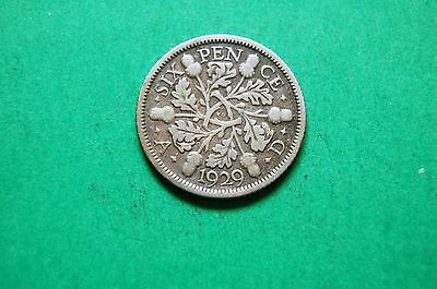 1929 Six (6d) Pence George V British Silver Coin