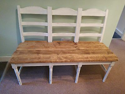Vintage antique pine rustic shabby chic bench chairs pew kitchen old pub dining