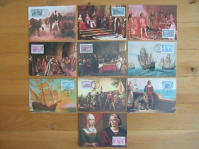 UNITED STATES USA 1992 VOYAGES OF COLUMBUS 10 x FLEETWOOD STAMPED MAX POSTCARDS