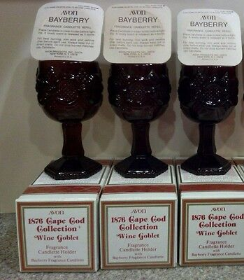 """THREE VINTAGE AVON 1876 CAPE COD RUBY RED Wine Goblets/Glasses 4-1/2"""" Tall"""
