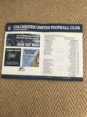 2016/17 Colchester United Teamsheet V Ipswich Town Friendly