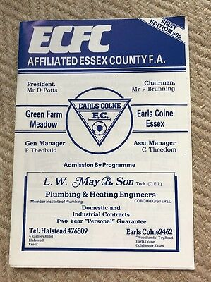 Earls Colne Football Club First Ever Match Programme V Rayleigh Athletic