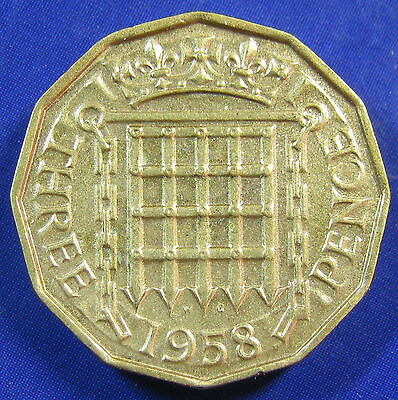 1958 3d Elizabeth II Threepence - even quite a tricky date close to EF