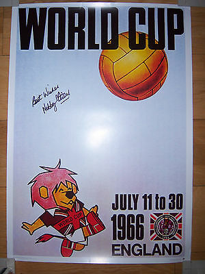 Nobby Stiles Signed 1966 World Cup Poster, England, Manchester United