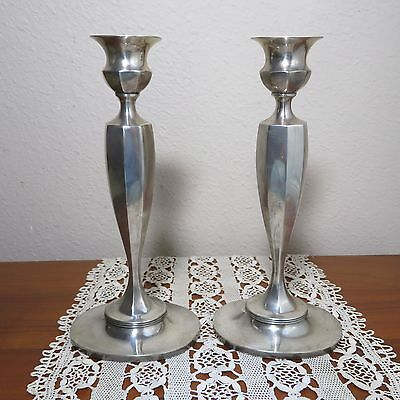 Gorgeous Pair Of Sterling Tiffany Weighted Candle Sticks B12 With Bobeches 91/4""