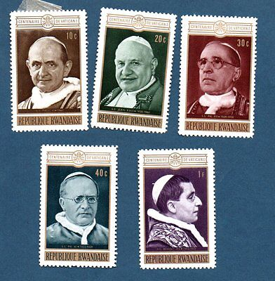 Rwanda stamps 1970. Centenary of 1st Vatican Council. Five stamps.