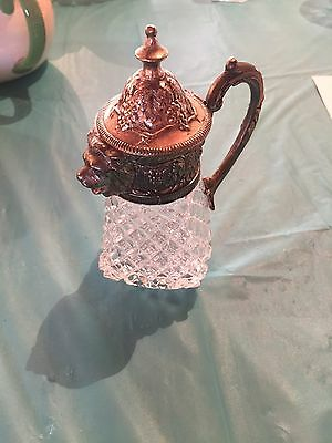 Silverplate Quilted Glass Creamer Pitcher With Lion Head Grapes & Leaves