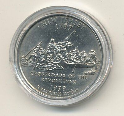 1999 P USA State Quarter Coin enclosed in Plastic Case - New Jersey