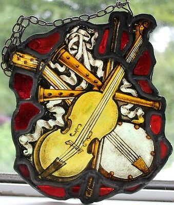 Antique Victorian Rare Painted Stained Glass Hanger Depicting Musical Instrument