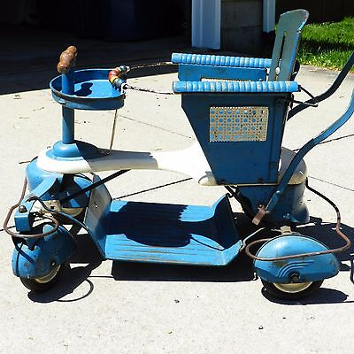 Vintage Blue Original TAYLOR TOT Metal STROLLER BABY BUGGY Patina Wear LOCAL P/U