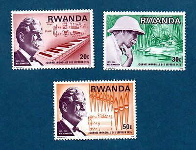 Rwanda stamps 1976 World Leprosy Day. Three stamps.