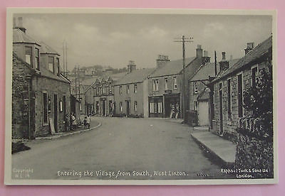 R.TUCK Postcard c.1930 ENTERING THE VILLAGE FROM SOUTH WEST LINTON PEEBLESSHIRE