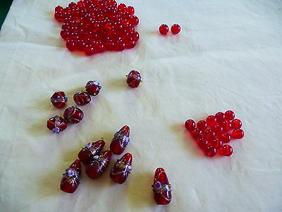 Murano Beautiful Glass Red Beads Plus A Selection Of Round Red Glass Beads
