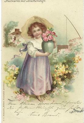 Ellen Clapsaddle ?  ( unsign)   Pretty Girl with flowers  Fragrance Card