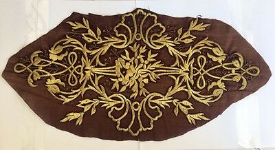 19th ANTIQUE OTTOMAN-TURKISH  GOLD METALLIC HAND EMBROIDERED PANEL 51cm