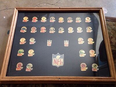 Framed Coca Cola NFL Pin Set