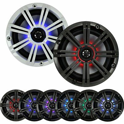 "New Kicker 41KM65 Marine 6.5"" Coaxial Multi Color LED Audio Speakers 41KM654LCW"