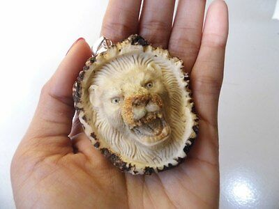 Pendant Necklace Lion Tiger Head From Deer Antler Carved with Silver 925_w727