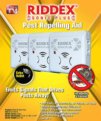 Pest Repellent New Riddex Sonic Plus As Seen On TV Plug Into Electrical Outlet