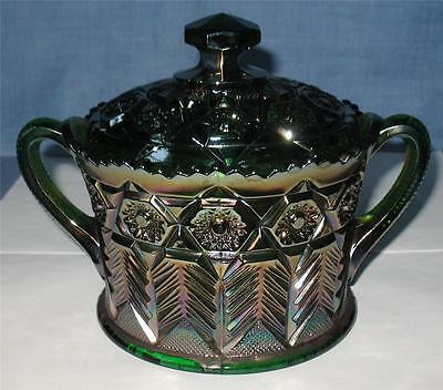 """Cambridge Green Carnival Glass  """"inverted Feather"""" Covered Cookie Jar"""