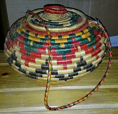Authentic Vintage African Art Hand Woven Africa Basket W Lid