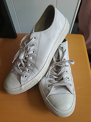 Converse All Star White Leather Trainers Size Uk 9 Eur 42.5