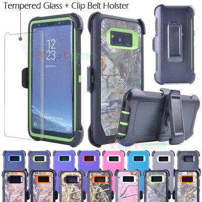 Samsung S8 Plus Shockproof Case Cover + Tempered Glass (Belt Clip fits Otterbox)