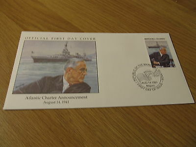 UNADDRESSED Marshall Islands 1991 WWII FDC Atlantic Charter USS Augusta Ship