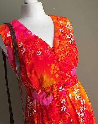 VINTAGE 1960s 70s VINTAGE Bright Pink ORANGE Maxi DRESS - Floral Summer VTG - 12