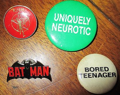 lot of 4; 2 badges: Batman/ Rush and 2 pinbacks 1960s vintage rare /collectible