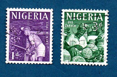 Nigeria stamps 1961 Coal Mining / Oyo carver. Two stamps.