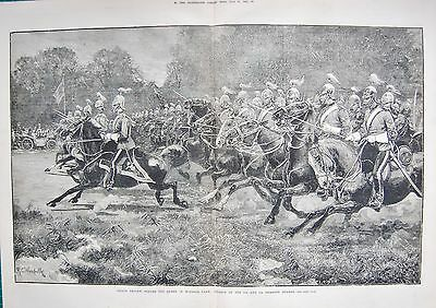 1880 ANTIQUE PRINT- CHARGE OF 5th AND 7th DRAGOON GUARDS