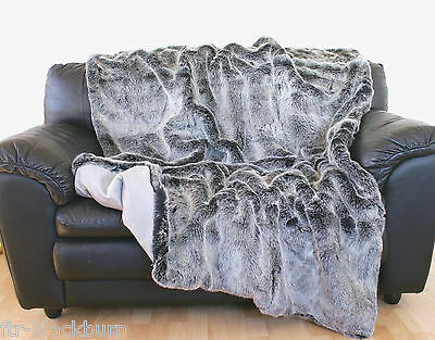 LUXURY SILVER-GREY FAUX FUR THROW BLANKET - Free UK Delivery
