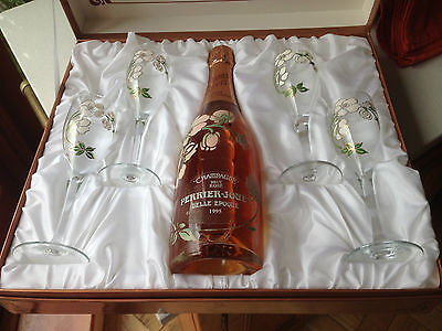 """Champagne Perrier """"Jouet Belle Epoque"""" Rose 1995 Gift Box with 4 Painted Glasses"""