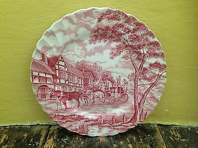 """Vintage shabby chic red white pink Meakin Myott Royal mail big plate 10"""" wide"""